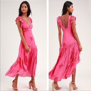 Free People A Waterfall Maxi Dress in Pink Combo